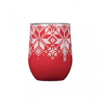 Corkcicle Stemless 12 oz - Fairisle Red