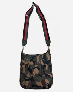 Army Camo Messenger Bag with Striped Strap