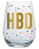 HBD Confetti Stemless Wine Glass