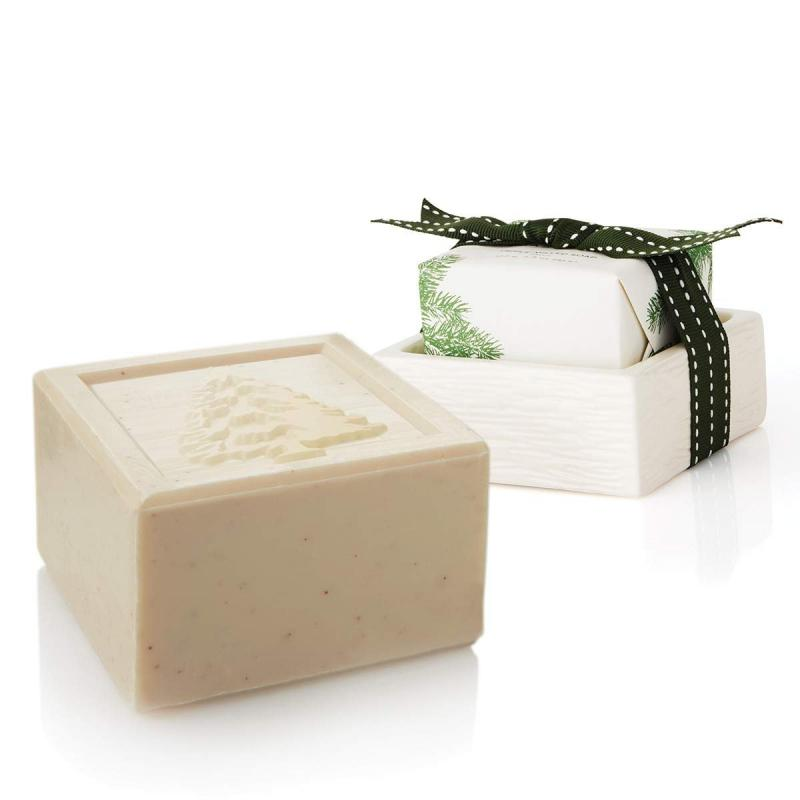 Thymes Heritage Home Care Collection Bar Soap & Dish Set Frasier Fir