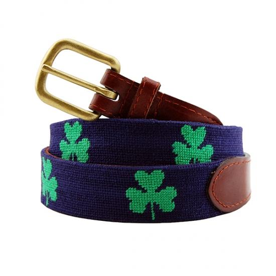 Shamrock Needlepoint Belt (Navy)
