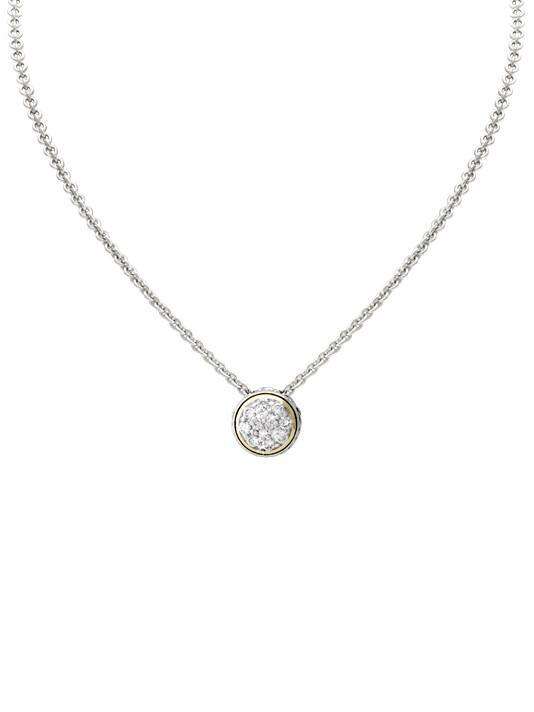 John Medeiros Oval Link Collection Lanna Solitaire Pavé Necklace