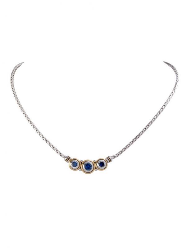 John Medeiros Three Stone Sapphire Necklace