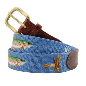 Trout and Fly Needlepoint Belt