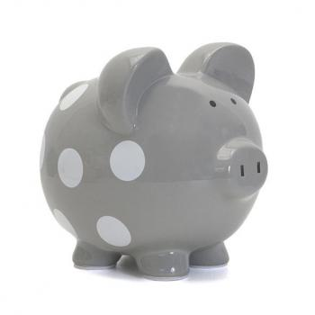 Child to Cherish Polka Dot Piggy Bank - Gray