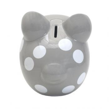 Child to Cherish Polka Dot Piggy Bank - Gray
