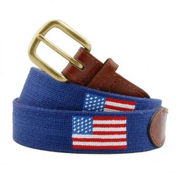 American Flag (Navy) Needlepoint Belt