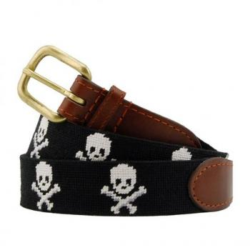 Jolly Roger (Black) Needlepoint Belt