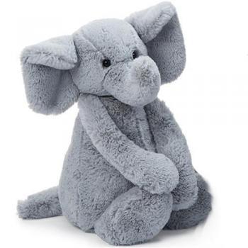 Bashful Gray Elephant Plush