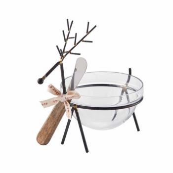Mud Pie Reindeer Glass Dip Bowl Set
