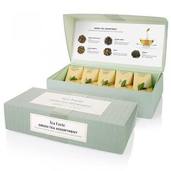 Tea Forte Green Tea Assortment 10 Handcrafted Pyramid Tea Infusers Box Presentation