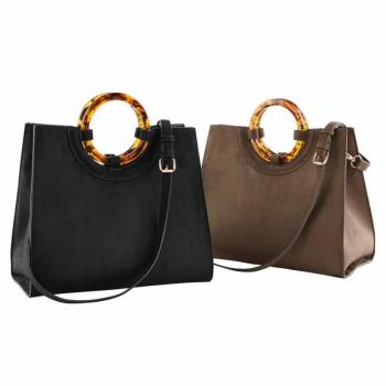 Mud Pie Suede Circle Handle Tote