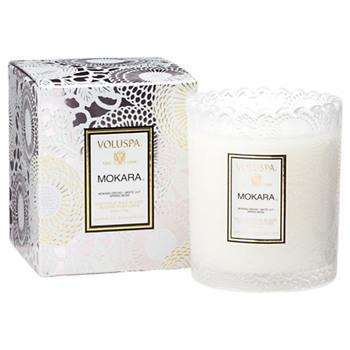 Voluspa Japonica Mokara Embossed Glass Scalloped Edge Candle