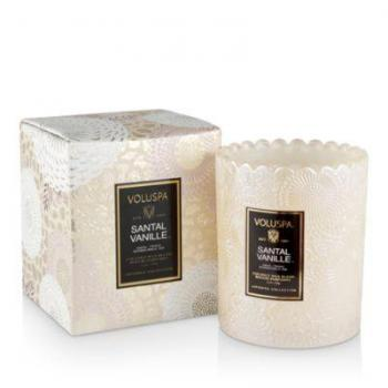 Voluspa Santal Vanille Boxed Scalloped Edge Embossed Glass Candle