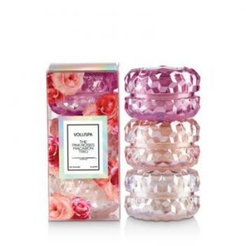 Voluspa the Pink Roses Macaron Candle Trio, Set of 3