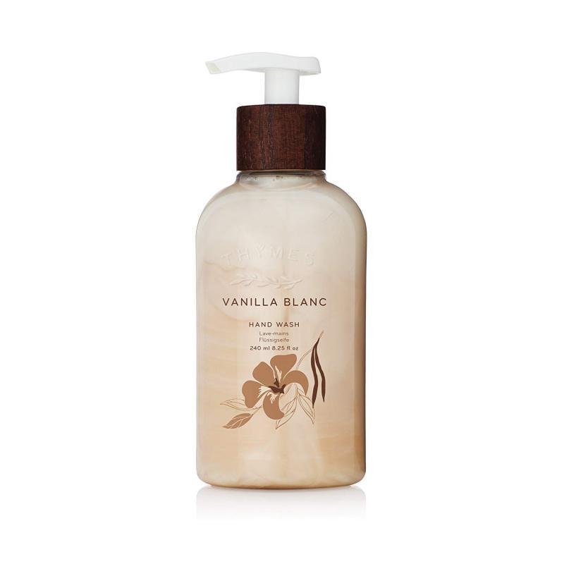 Thymes - Vanilla Blanc Hand Wash with Pump - Hydrating Liquid Hand Soap with Warm Madagascar Vanilla Scent - 8.25 Oz