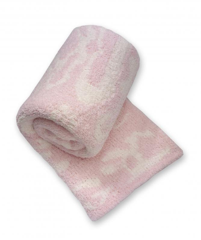 Pink and Creme Damask Throw