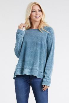 Women's Long Sleeve Light Blue Top
