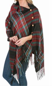 3-In-1 Plaid Wrap: Black Plaid