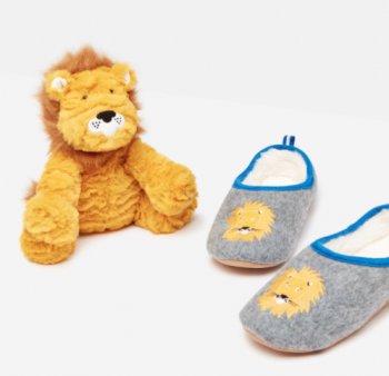 Joules Lion Slippers & Toy Gift Set