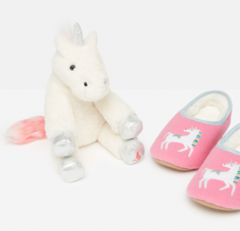 Joules Unicorn Slippers & Toy Gift Set