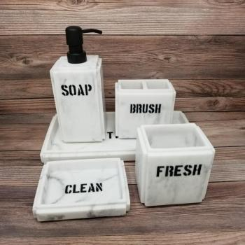 Towson Marbled Bath Accessories Set - Includes Soap Dispenser, Tumbler, Toothbrush Holder, Soap Dish, and Tray