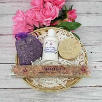 Lovely Lavender Gift Basket - Includes Sachet, Lotion, Soap, and Bath Salt