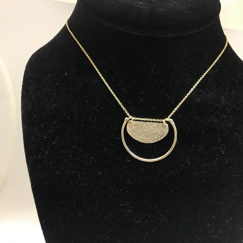 Gold filled Horseshoe and Disc Necklace