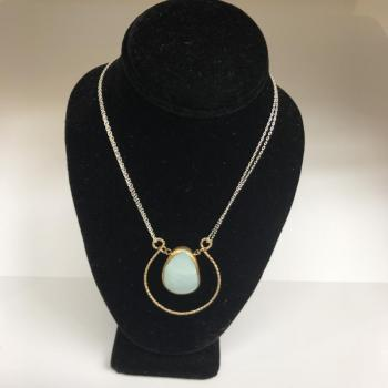 Stainless Steel Gold Filled Necklace with Blue Freeform Druzy