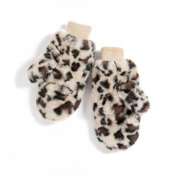 Fluffy Leopard Mittens