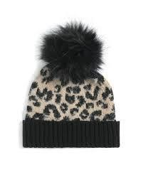 Blush Leopard Print Pom Pom Hat