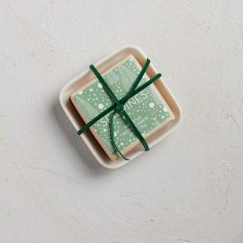 Holiday Bar Soap in Ceramic Dish
