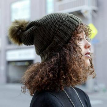 Olive Sherpa-Lined Pom Pom Hat