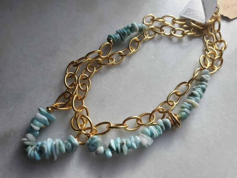 Larimar & Gold Chain Necklace