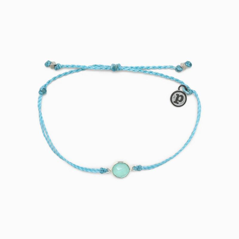 Pura Vida Aqua Stone Charm Bracelet