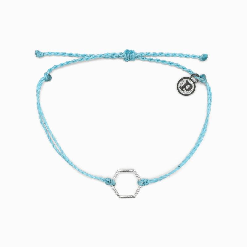 Pura Vida Light Blue Hexagon Bracelet