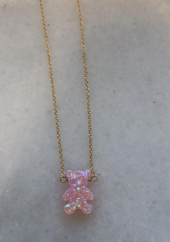 Teddy Bear Opal Charm Necklace