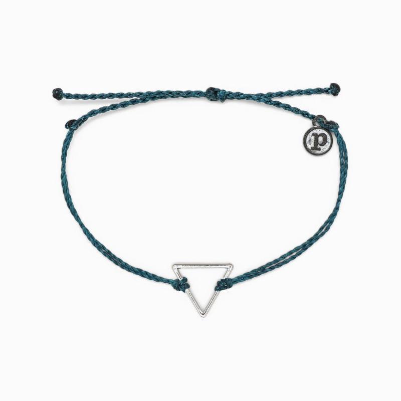 Pura Vida Triangle Charm Bracelet in Mediterranean Green