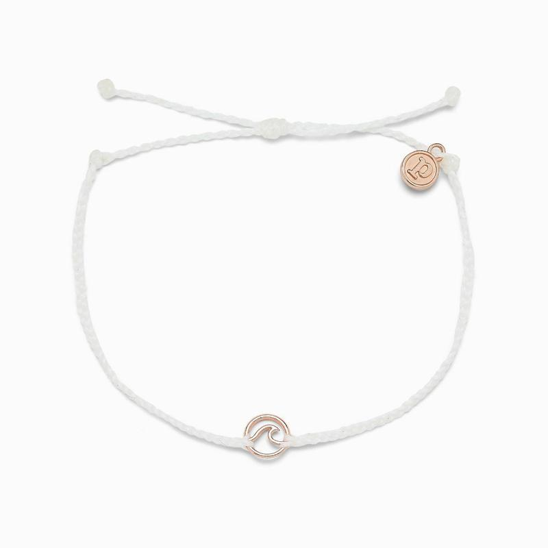 Pura Vida Mini Wave Charm White Anklet