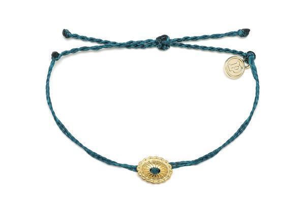 Pura Vida Gold Boho Concho Bracelet in Mediterranean Green