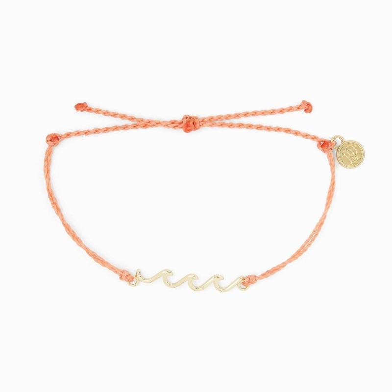 Pura Vida Gold Delicate Wave Bracelet in Salmon