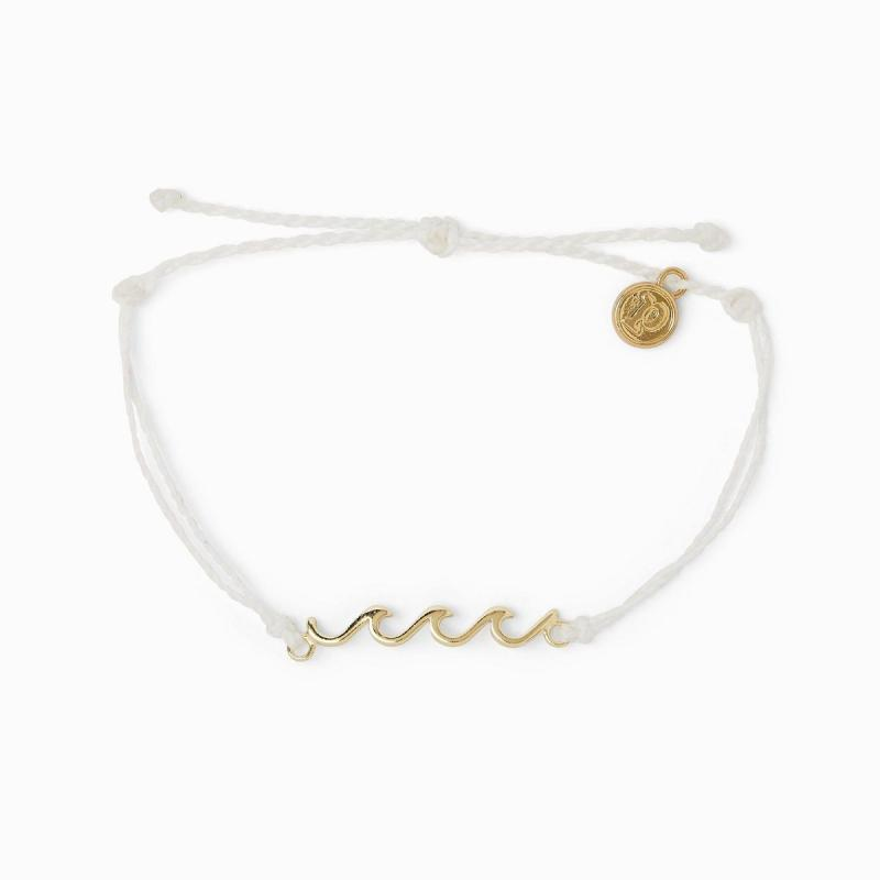 Pura Vida Gold Delicate Wave Bracelet in White