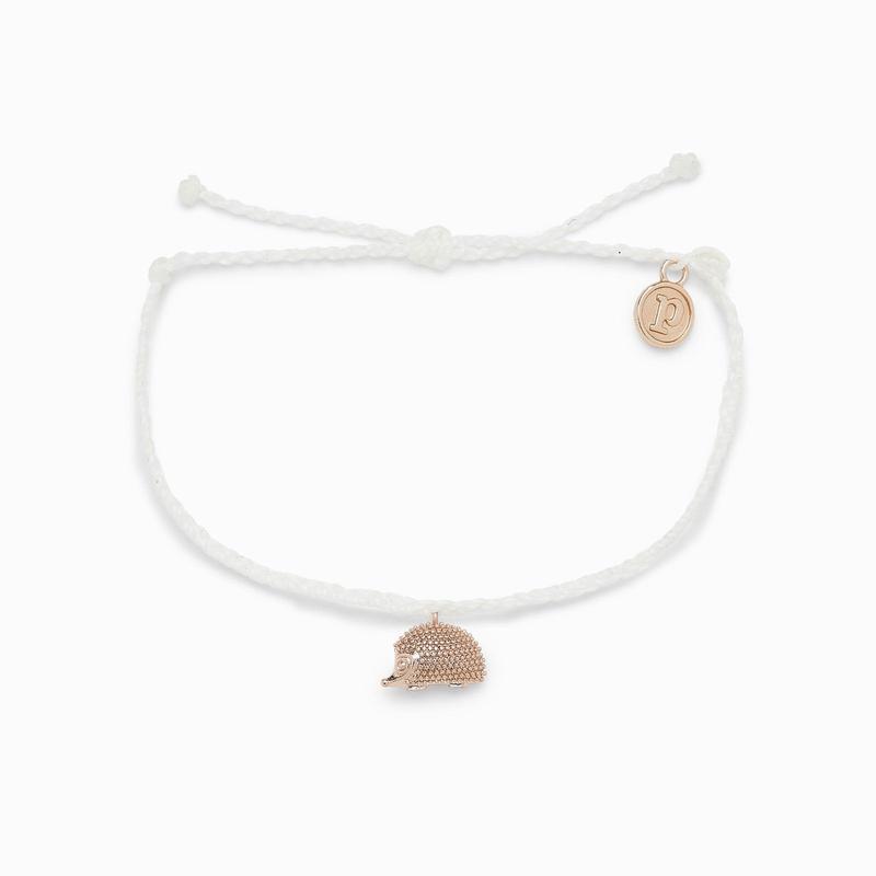 Pura Vida Hedgehog Charm White Bracelet