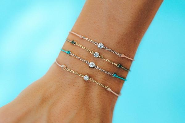 Pura Vida Delicate Rhinestone Charm Silver Chain in Light Blue