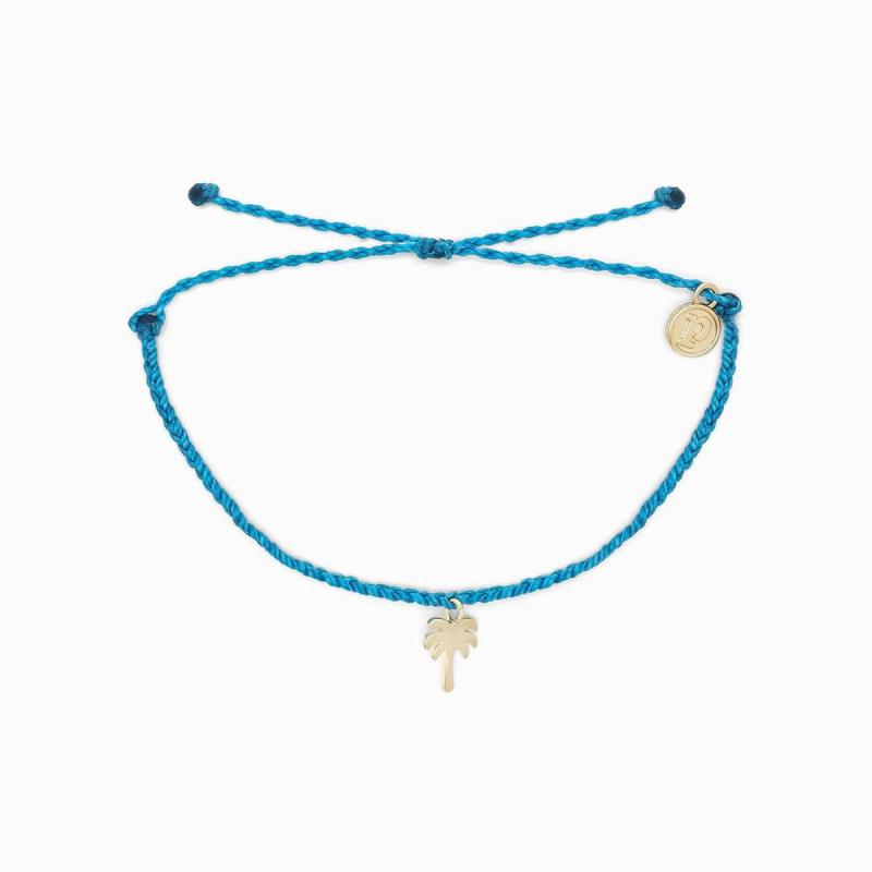 Pura Vida Palm Tree Charm Bracelet in Neon Blue
