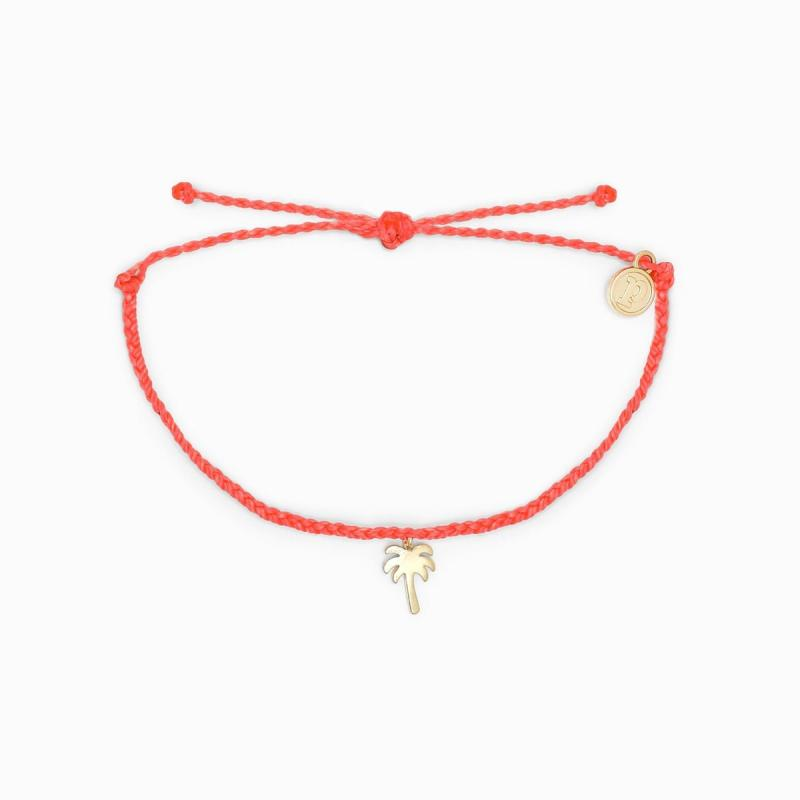 Pura Vida Palm Tree Charm Bracelet in Strawberry