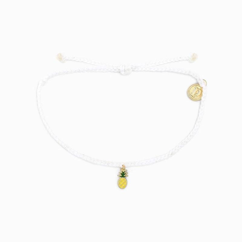Pura Vida Pineapple Bitty Braid Bracelet in White