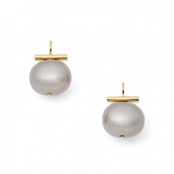 Catherine Canino Large Slate Pebble Pearl Earrings with Gold
