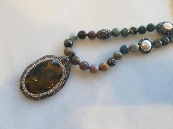 Agate Necklace with a Beautiful Multi Color Pendent