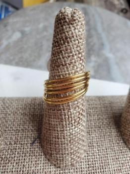 Sterling silver gold fill  Set of 6 thin rings size 9